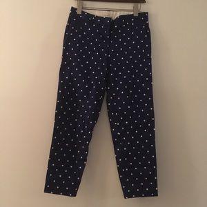 J. Crew tailored cotton polka dot toothpick pants